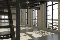 White minimalist loft interior
